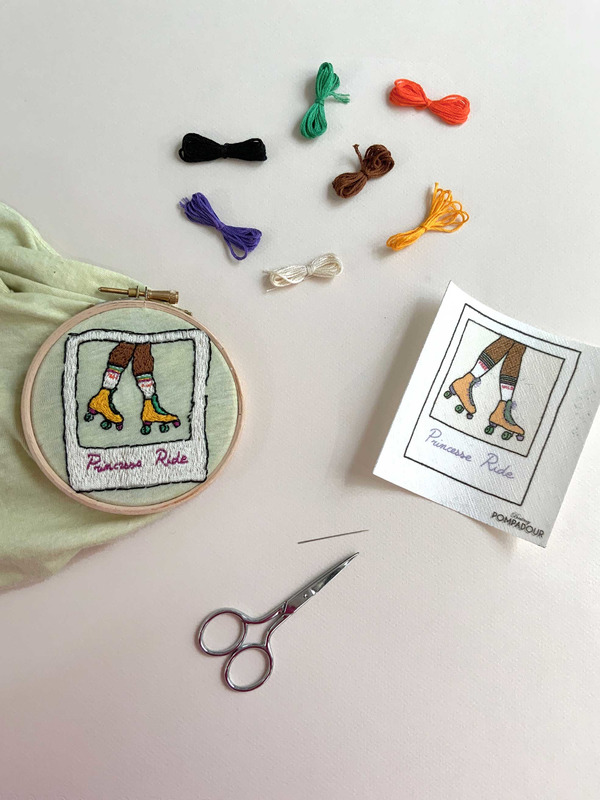 Rollergirl, embroidery kit for beginners
